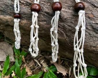 Crystal Pouch Hemp Macrame Necklace Interchangeable & Adjustable Eco-Friendly Without Stone Handmade