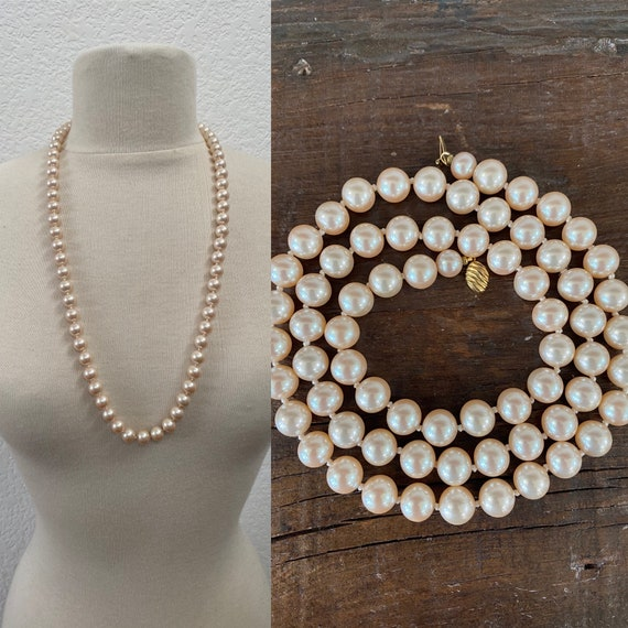 Vintage Marvella Faux Pearl Necklace (29 inches) - image 1