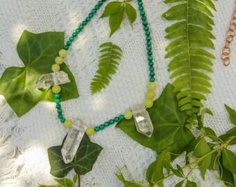 Malachite, Olive Jade & Quartz Waist Beads