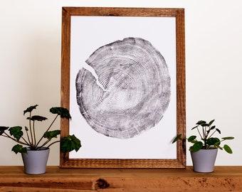 Hand Pressed Tree Ring Print | Douglas Fir - 18x24 | Wall Hanging - Decor - Art