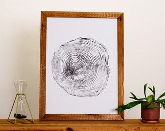 Hand Pressed Tree Ring Print | Redwood - 18x24 | Wall Hanging - Decor - Art