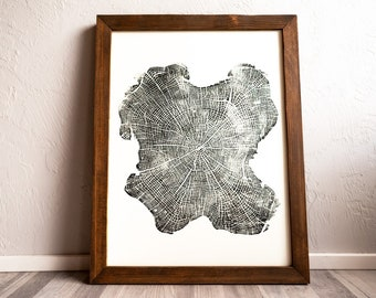Hand Pressed Tree Ring Print | Black Locust - 18x24 | Wall Hanging - Decor - Art