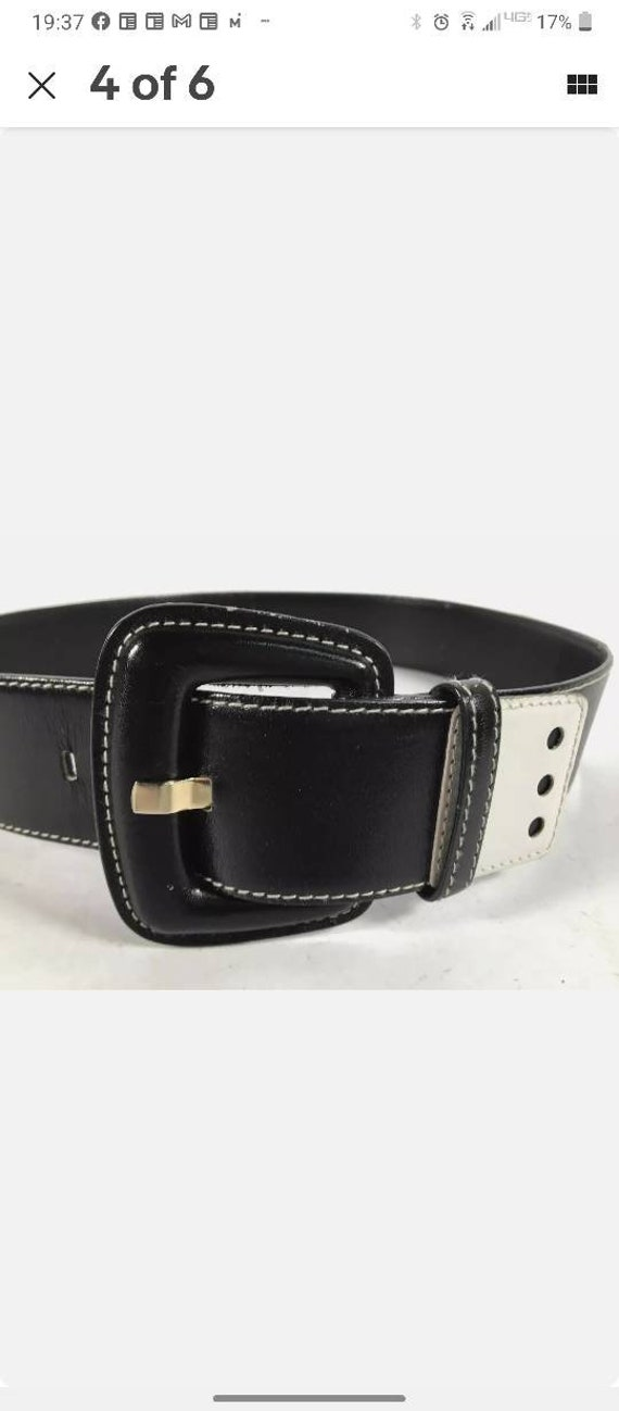 Escada dice belt vintage white black belt Margaret