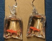 Goldfish Bag Carnival Prize Fish See Through Resin and Plastic Quirky Fun Silver Hypoallergenic Earrings