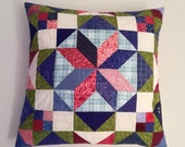 Modern patchwork pillow in pink, blue and more