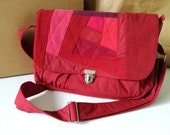 Red handbag in jeans patchwork crossbody bag with zipper
