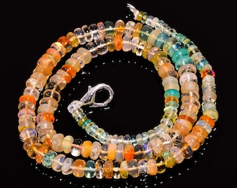 AAA Top Quality 55 Cts Natural MIXS MALTI  Ethiopian Opal Roundalle Smooth Beads 3x2 5x3 mm Necklace Gemstone 14-16-17-18Jewelry Making