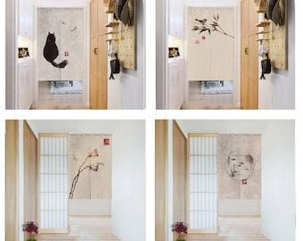 Linen Noren Door Curtain ,Chinese Ink Painting Noren Panel,   Short Noren, Custom Doorway curtain,24 Patterns