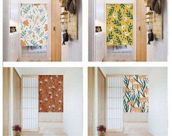 Linen Noren Door Curtain , Noren Panel With Flower, Floral Curtain, Long Noren, Custom Doorway curtain,10Patterns