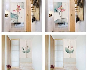 Linen Noren Door Curtain ,Chinese Lotus Noren Panel, Japanese Curtain, Long Noren, Custom Doorway curtain,6Patterns