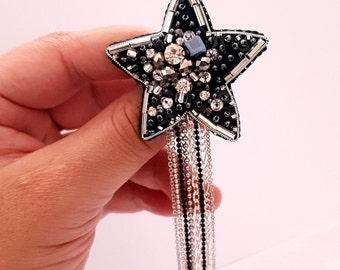 Brooch star, Star bead brooch, Brooches for women, Brooch handmade, Bead embroidery brooch, Beaded brooch, Original gift for her