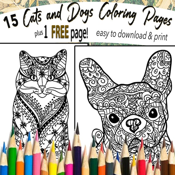 15 Page Animal Printable Mandala Adult Coloring Books Etsy