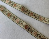 1 2 quot Vintage Sweet Natural (2yds) Floral Woven Embroidered Jacquard Ribbon Trim Natural Multi