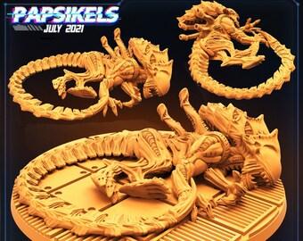 Xeno Brood Ripper Dead | Cyberpunk, Monster | Scifi Miniature, D&D, Wargames, Starfinder, Shadowrun, Stargrave | Papsikels
