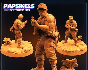Colonial Anti Hunter Colonel Weathers  | Fighter, Cyberpunk | Scifi Miniature, D&D, Wargames, Starfinder, Shadowrun, Stargrave | Papsikels