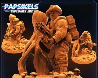 Colonial AntiHunter Steven Tyrranosaurus | Fighter, Cyberpunk | Scifi Miniature, D&D, Wargames, Starfinder, Shadowrun, Stargrave | Papsikels