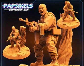 Colonial AntiHunter Sergeant Billy Clean | Fighter, Cyberpunk | Scifi Miniature, D&D, Wargames, Starfinder, Shadowrun, Stargrave | Papsikels