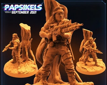 Colonial AntiHunter Lieut Chest Bleeder | Fighter, Cyberpunk | Scifi Miniature, D&D, Wargames, Starfinder, Shadowrun, Stargrave | Papsikels