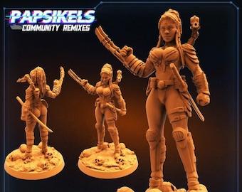 Human Skullhunter Yumiko Yamite Kudesai1 | Fighter, Cyberpunk | Scifi Miniature, D&D, Wargames, Starfinder, Shadowrun, Stargrave | Papsikels