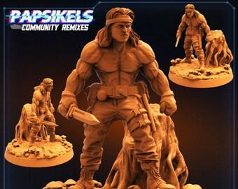 Colonial AntiHunter Lieut Chest Bleeder2 | Fighter, Cyberpunk | Scifi Miniature, D&D, Wargames, Starfinder, Shadowrun, Stargrave | Papsikels