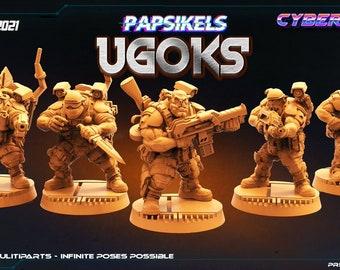 Customized Ugok/ Ugoks Packs | Cyberpunk, Monster | Scifi Miniature, D&D, Wargames, Starfinder, Shadowrun, Stargrave | Papsikels
