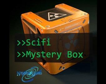 Scifi Mystery Box | Robots, Cyborgs, Mechas | 32mm/ 28mm Sci Fi Miniature, D&D, Wargames 40k, Shadowrun, Starfinder, Cyberpunk, Stargrave