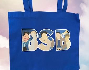 Blue BSB Artwork Tote Purse Backstreet Boys BSBArmy Nick Carter AJ McLean Howie Dorough Boy Bands Kevin Richardson 90s
