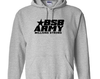 BSB Army Millions Strong Hoodie Sweatshirt Backstreet Boys Nick Carter AJ McLean Boy Bands NSYNC Pop Music Kevin Richardson 98 Degrees