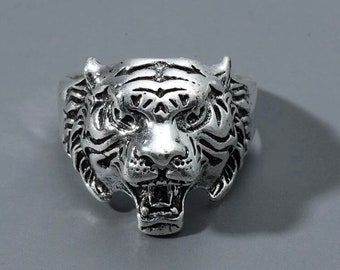 Tigers Head Ring Animal Rings Animal Jewelry Statement Rings Chunky Rings Animal Ring men tiger ring 925 sterling silver tiger ring