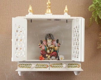 Marble Mini Pooja Temple Handmade Design Mandir for Home Religious Temple Gift Decor 10x6 Inch