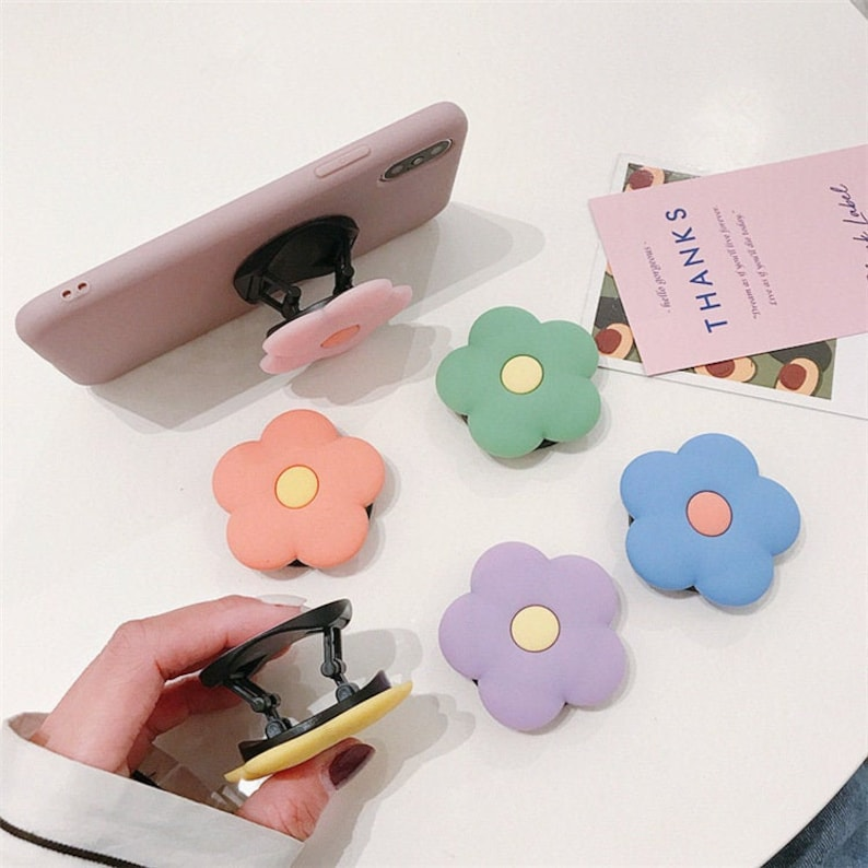 12 pieces wholesale Flowers Finger silicone Grip pop socket For iPhone Samsung Huawei Redmi phone Ring solid matte color pop out