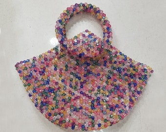 Handmade colorful beaded tote bag, acrylic beaded bag beach,transparent beaded bags for women