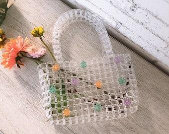 Handmade white beaded bag/acrylic beaded handbag/summer tote bag hand woven