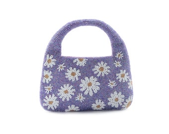 Purple beaded bag tote, embroidered flowers beaded clutch for women