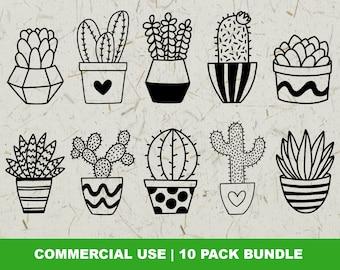 Cactus SVG Bundle, Succulent Svg Pack, House Plant Svg, Houseplant Svg, Potted Plant Clip Art, Cut File for Cricut, Silhouette, PNG, DXF