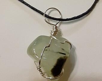 Prehnite and Pietersite with Angel wings dangle earrings 2 long