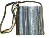 Denim Hand-sewn crossbody bag from distressed jeans seams. Medium stripe bag unisex.