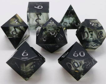 Drowned Sea green variant - green and black handmade resin sharp edge dnd dice set for DnD, D&D, Dungeons and Dragons, RPG dice, smoke dice