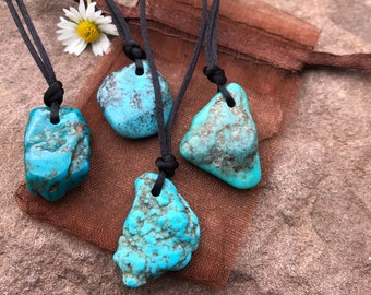 Turquoise drilled + band pendant small disc stone