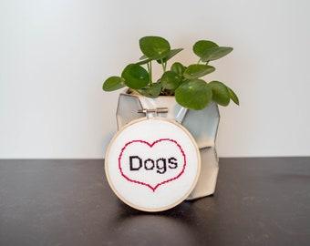 "Finished Cross Stitch Art ""Love Dogs"""