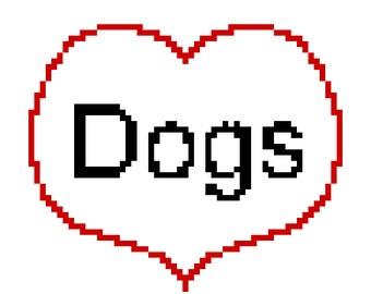 "PATTERN Cross Stitch ""Love Dogs"""