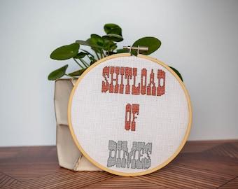 "Snarky Cross Stitch ""Shitload of Dimes"" Finished & Framed"