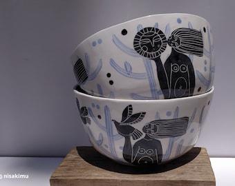 Handmade ceramic sgraffito salad bowl- Woman holding the sun