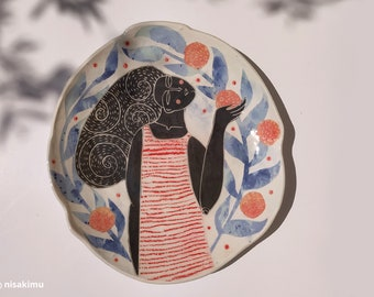 Handmade ceramic sgraffito plate (shallow big size)- Girl in the orange tree garden