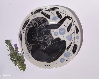 Handmade big ceramic platter - Motherhood