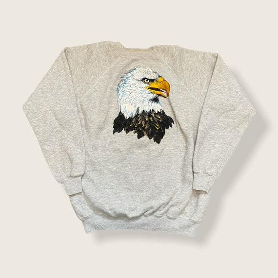 Vintage Biker Bald Eagle Sweatshirt Red Pullover Free Breed Made in USA Small