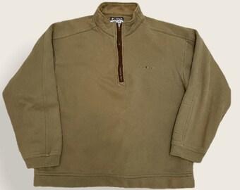 Columbia Olive Stitched 1/4 Zip Vintage Crewneck Sweater
