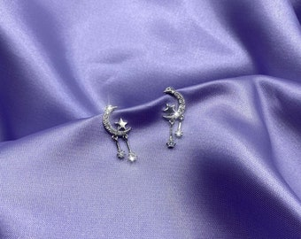 Star and Moon Earrings - Silver 925 Sterling