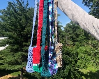 Handmade Crochet Water Bottle Holder, Mesh Container, Over the Shoulder Carrier, Drink Cozy