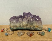 genuine gemstone rings crystal wire-wrapped rings sterling silver handmade healing stones